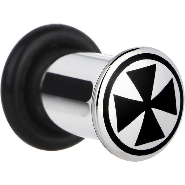 2 Gauge Stainless Steel Black Iron Cross Plug