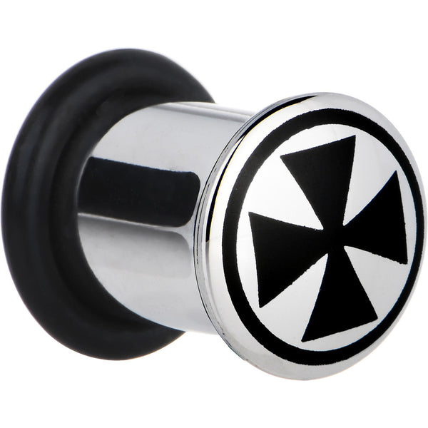 0 Gauge Stainless Steel Black Iron Cross Plug