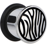 1/2 Stainless Steel Black Zebra Striped Plug