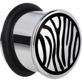 "9/16"" Stainless Steel Black Zebra Striped Plug"