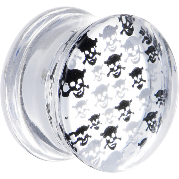 9/16 Acrylic Black White Skull Saddle Plug