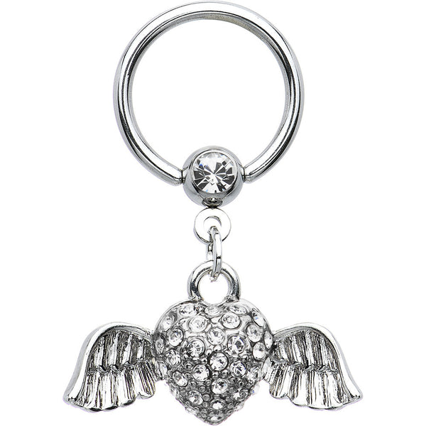 14 Gauge Clear Gem Winged Heart Dangle Captive Ring