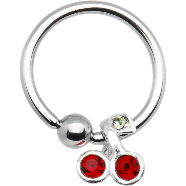 16 Gauge Sterling Silver Red Gem Cherry Dangle Captive Ring
