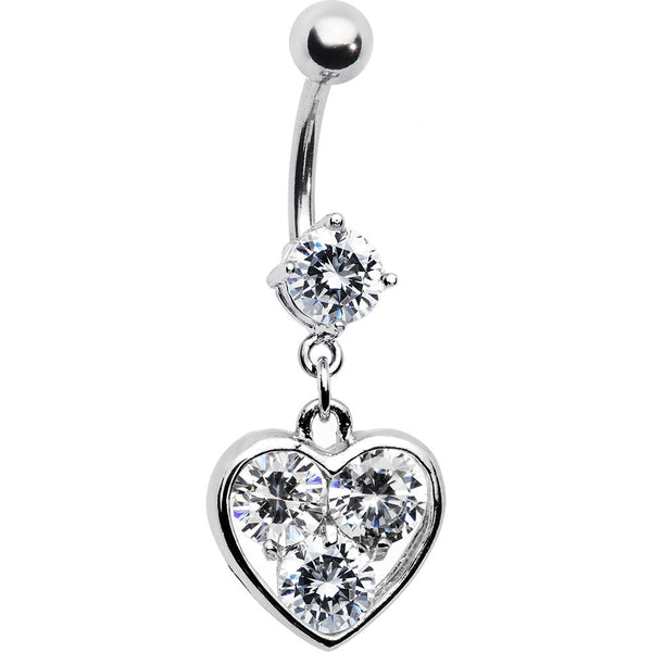 Clear Triple Solitaire CZ Heart Belly Ring