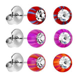 Acrylic Beach Ball Gem Stud Earrings Set