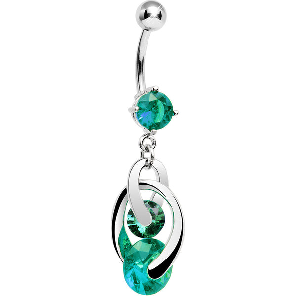 Green Cubic Zirconia Cosmo Dangle Belly Ring