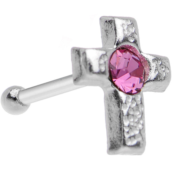 Sterling Silver Pink Cross Nose Bone Created with Swarovski Crystals