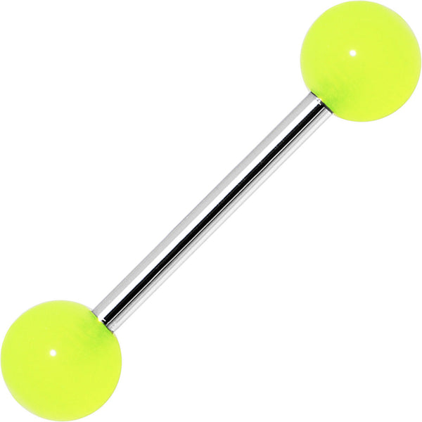 Neon Green Glow in the Dark Acrylic Ball Barbell Tongue Ring