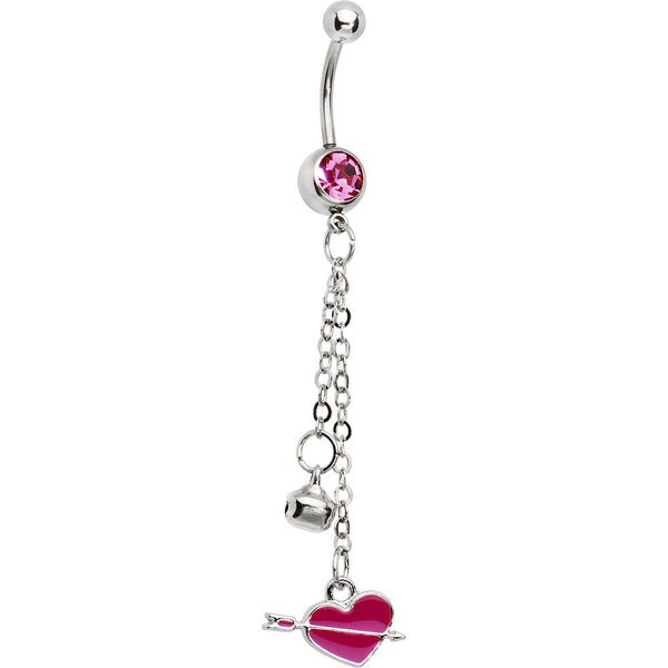 Pink Gem Cupid Heart Dangle Belly Ring