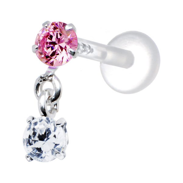 Silver 925 Pink Clear Round Dangling CZ Tragus Earring