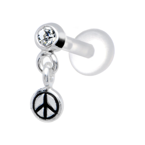 Silver 925 Clear CZ Dangling Peace Sign Tragus Earring