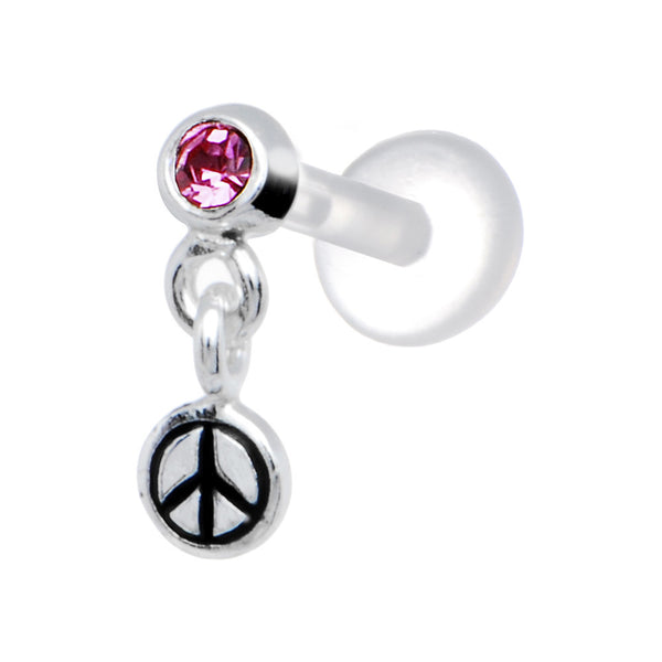 Silver 925 Pink CZ Dangling Peace Sign Tragus Earring