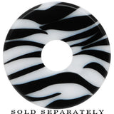 6 Gauge White and Black Zebra Striped Acrylic Threaded Tunnel