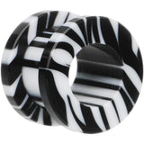 00 Gauge White and Black Zebra Striped Acrylic Threaded Tunnel
