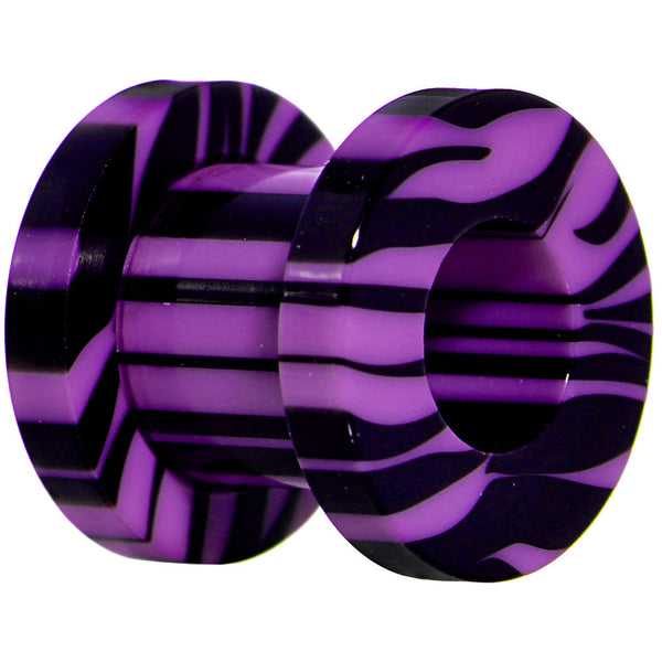 0 Gauge Purple and Black Zebra Striped Acrylic Threaded Tunnel