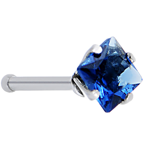 18 Gauge L Blue Diamond Cubic Zirconia Nose Bone