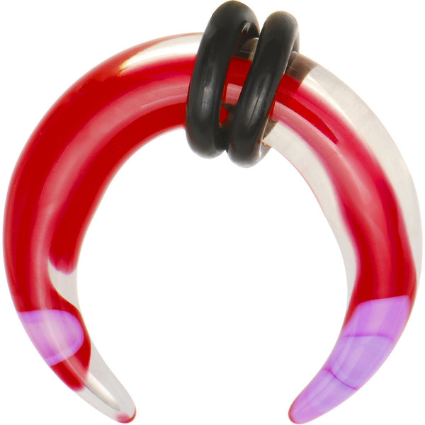 4 Gauge Pink Red Marble Acrylic UV Buffalo Taper