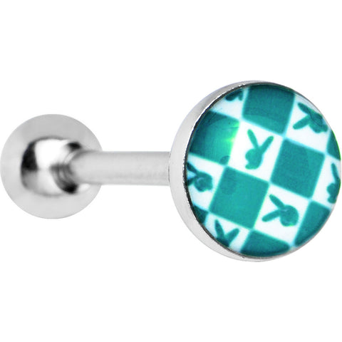 Licensed Green Checkerboard Playboy Barbell Tongue Ring
