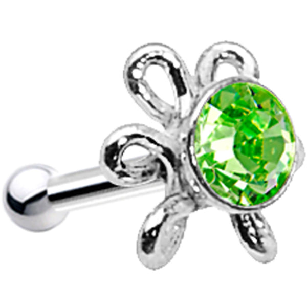 925 Silver Peridot Daisy Nose Bone Created with Swarovski Crystals