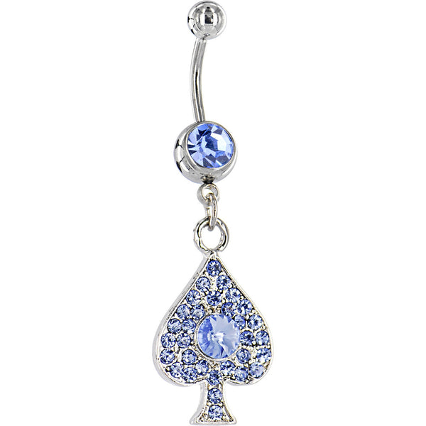 Solar Blue GEM Jeweled Paved SPADE Dangle Belly Ring