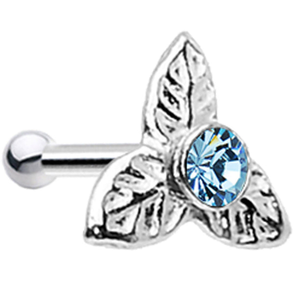 925 Aqua Three Petal Flower Nose Bone Created with Swarovski Crystals