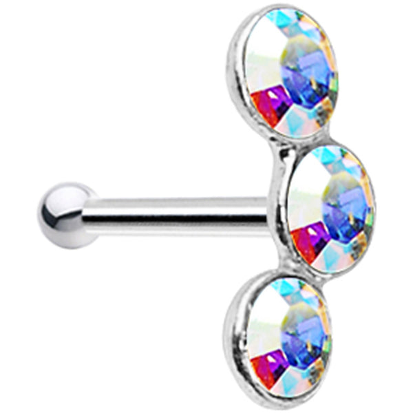 925 Silver 2.2mm Aurora Trio Nose Bone Created with Swarovski Crystals