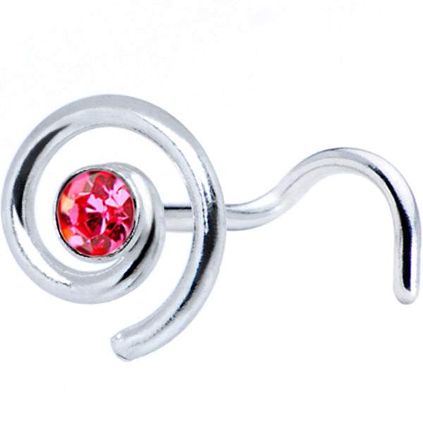 Sterling Silver Swirl Pink Nose Ring Created with Swarovski Crystals