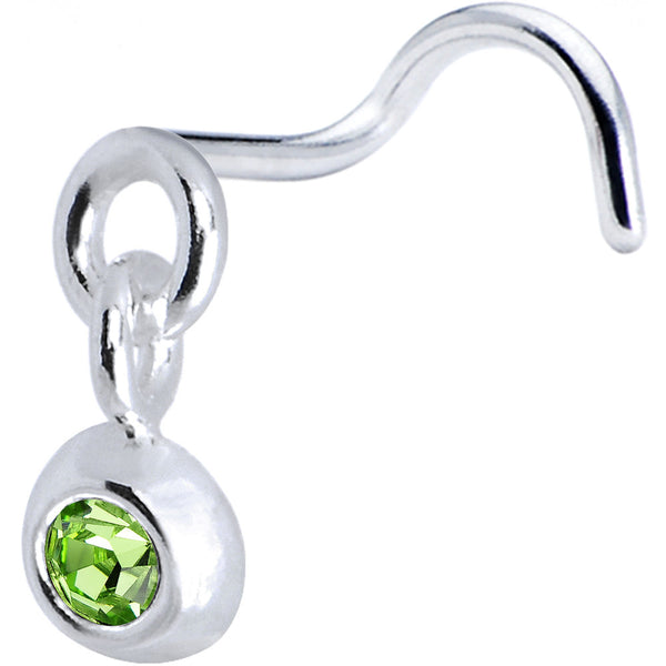 925 Ball  Dangle Peridot Nose Ring Created with Swarovski Crystals