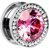 "5/8"" Stainless Steel Clear Pink CZ Screw Fit Tunnel"