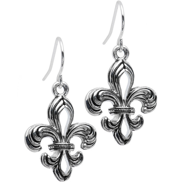 Silver Toned Fleur De Lis Earrings