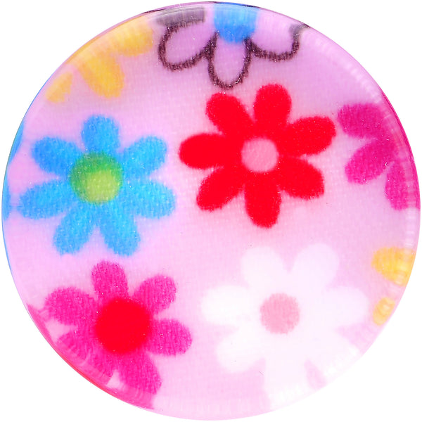5/8 Acrylic Pink Multicolored Flower Power Saddle Plug