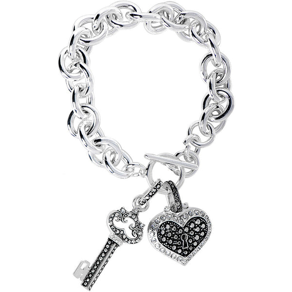 Silver Tone Heart and Key Toggle Bracelet
