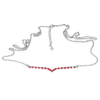 Red Cubic Zircoina Curved Back Belly Chain