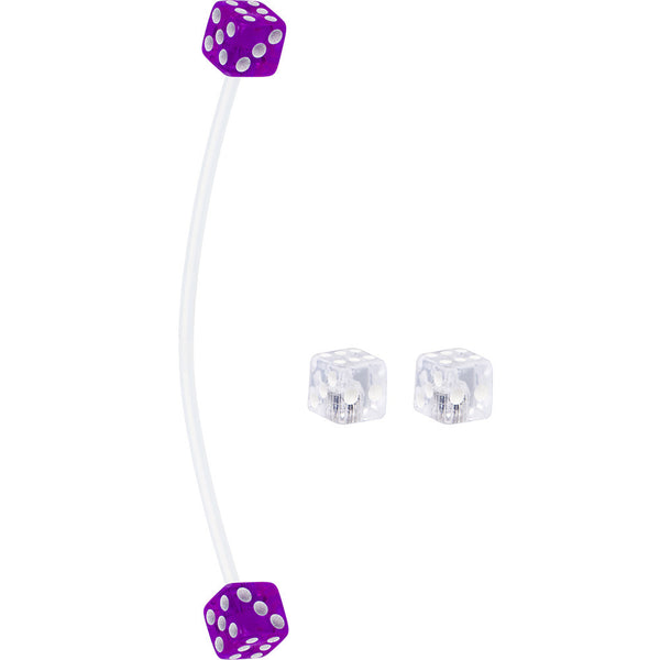 Clear and Purple Dice Pregnant Belly Button Ring
