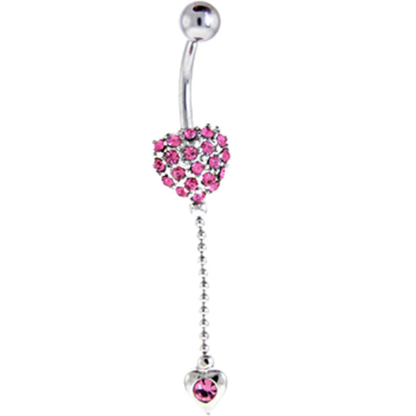 Passion Pink JEWELED HEART Dual Dangle Belly Ring