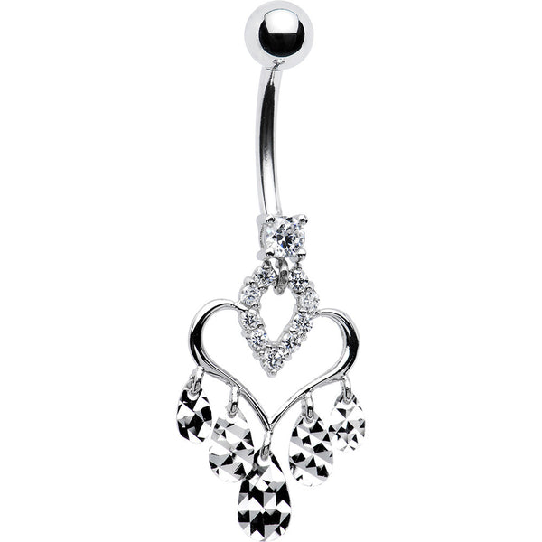 14kt White Gold Fancy CZ Hollow Heart Belly Ring