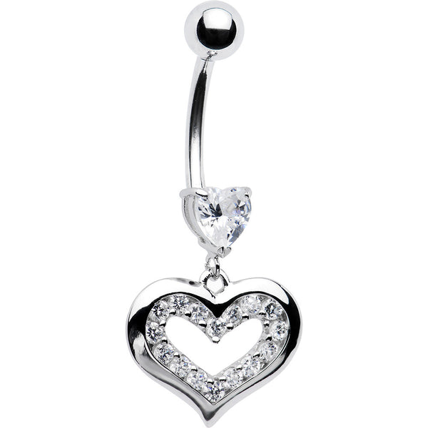 14kt White Gold Paved Cubic Zirconia Heart Belly Ring