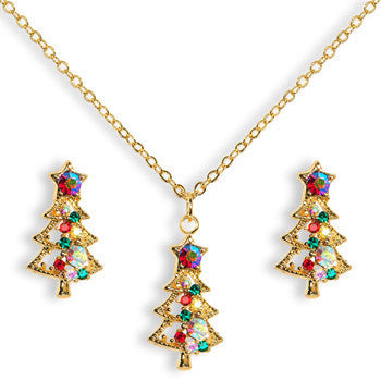 Gold Tone Gem Christmas Tree Necklace and Stud Earrings Set