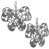 Hematite Tone Filigree Butterfly Earrings
