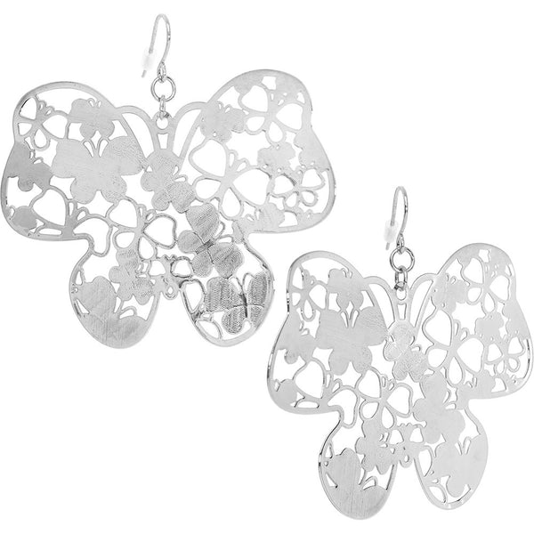 Silver Tone Filigree Butterfly Earrings
