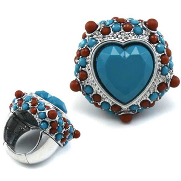 Brown Turquoise Color Heart Stretch Ring