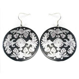 Silver Tone Ornate Circle Earrings