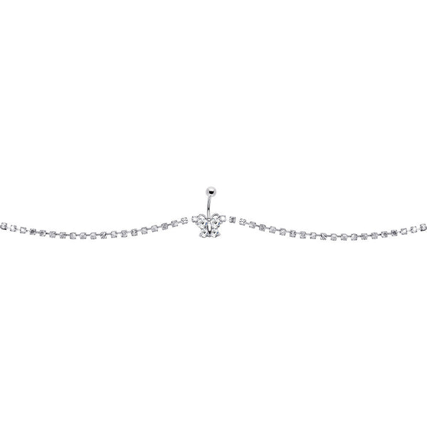 Clear Glitzy Gem Butterfly Belly Chain