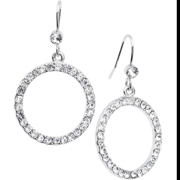 Clear Perfect Circle Crystal Hoop Earrings