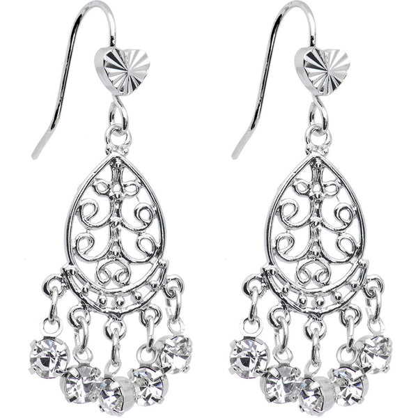 Clear Teardrop Chandelier Earrings