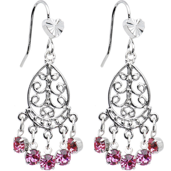 Pink Teardrop Chandelier Earrings