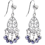 Violet Teardrop Chandelier Earrings