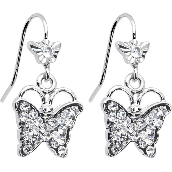 Clear Crystal Fluttering Butterfly Drop Earrings