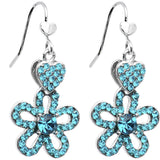 Illustrious Aqua Crystal Heart and Posy Flower Earrings