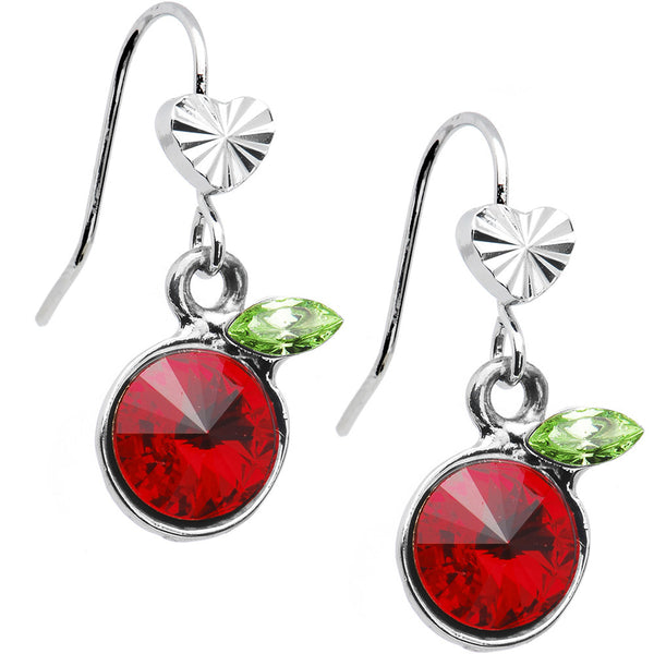 Crystal Cherry Shining Heart Earrings